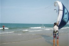 Next step, launching the kite from the shallows