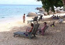 Panuba Inn's private beach, a sandy little paradise