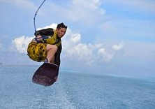 Getting some air off Juara, Tioman
